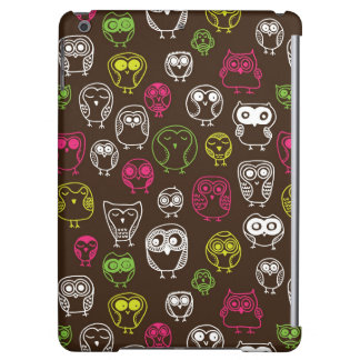 Colorful owl doodle background pattern