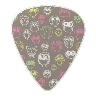 Colorful owl doodle background pattern acetal guitar pick