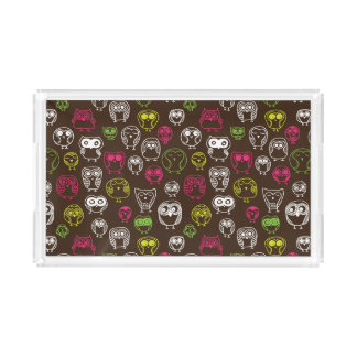 Colorful owl doodle background pattern acrylic tray