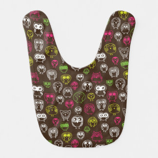 Colorful owl doodle background pattern baby bibs