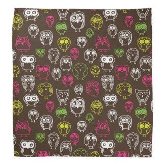 Colorful owl doodle background pattern bandana