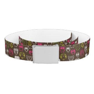 Colorful owl doodle background pattern belt