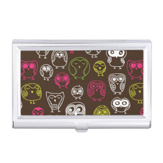 Colorful owl doodle background pattern business card holder