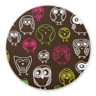 Colorful owl doodle background pattern ceramic knob