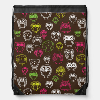 Colorful owl doodle background pattern drawstring bag