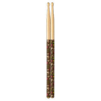 Colorful owl doodle background pattern drumsticks