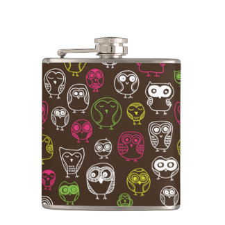 Colorful owl doodle background pattern hip flask