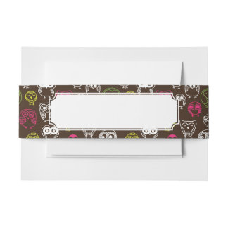 Colorful owl doodle background pattern invitation belly band