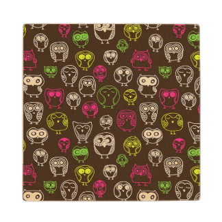 Colorful owl doodle background pattern maple wood coaster