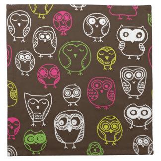 Colorful owl doodle background pattern napkin