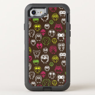 Colorful owl doodle background pattern OtterBox defender iPhone 8/7 case