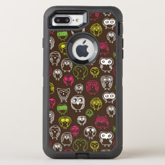 Colorful owl doodle background pattern OtterBox defender iPhone 8 plus/7 plus case