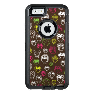 Colorful owl doodle background pattern OtterBox defender iPhone case