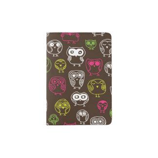 Colorful owl doodle background pattern passport holder