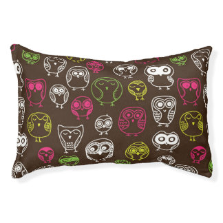 Colorful owl doodle background pattern pet bed