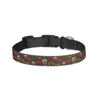 Colorful owl doodle background pattern pet collar