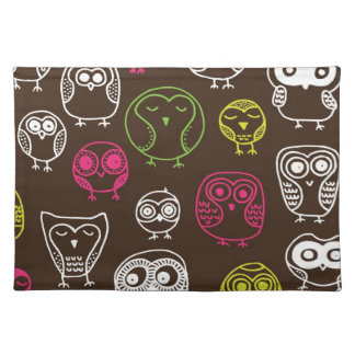 Colorful owl doodle background pattern placemat