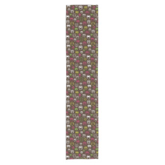 Colorful owl doodle background pattern short table runner