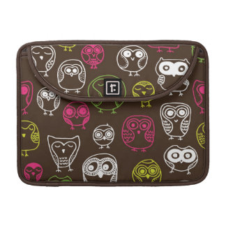 Colorful owl doodle background pattern sleeve for MacBook pro