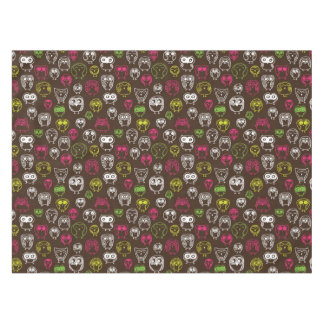 Colorful owl doodle background pattern tablecloth