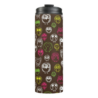 Colorful owl doodle background pattern thermal tumbler