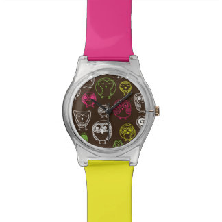 Colorful owl doodle background pattern watch