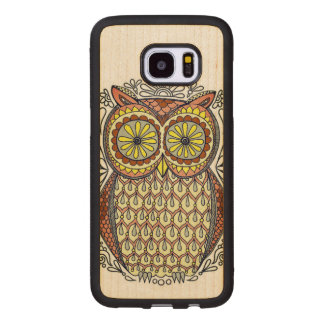Colorful Owl Illustration Wood Samsung Galaxy S7 Edge Case
