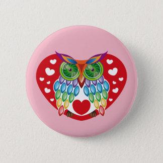 Colorful Owl, Love 6 Cm Round Badge