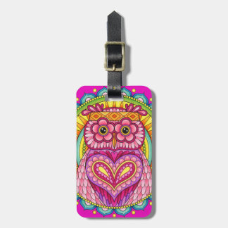 Colorful Owl Luggage Tag - Cute Owl Luggage Tag