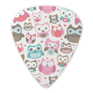 colorful owl pattern acetal guitar pick
