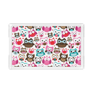 colorful owl pattern acrylic tray