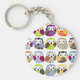 Colorful Owl Pattern Basic Round Button Key Ring
