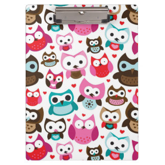 colorful owl pattern clipboard