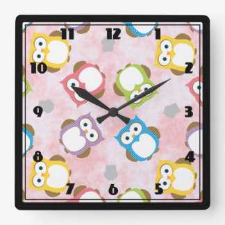 Colorful Owl pattern Square Wall Clocks
