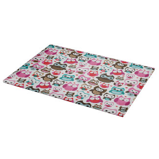 colorful owl pattern cutting board