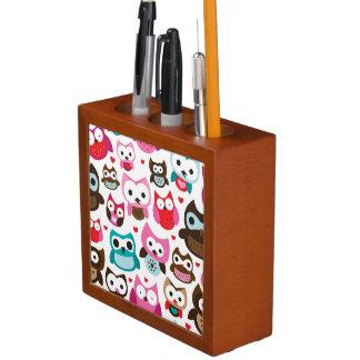 colorful owl pattern desk organiser