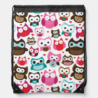 colorful owl pattern drawstring bag