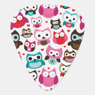 colorful owl pattern guitar pick
