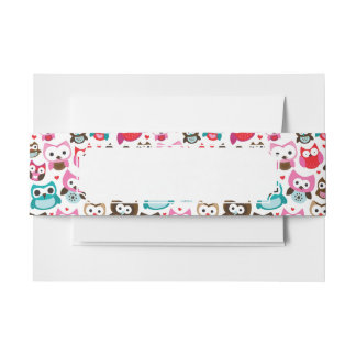 colorful owl pattern invitation belly band
