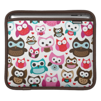 colorful owl pattern iPad sleeve