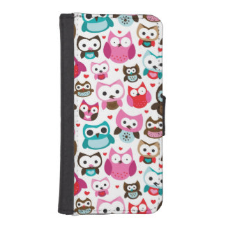 colorful owl pattern iPhone SE/5/5s wallet case