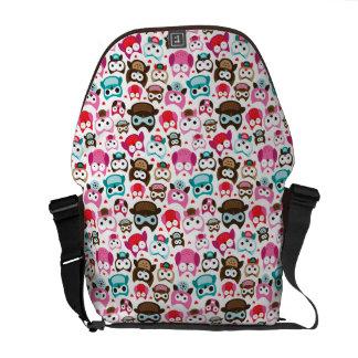 colorful owl pattern messenger bag