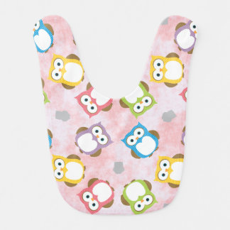 Colorful Owl pattern on a Pink Background Bibs