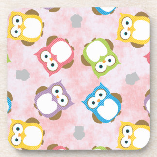 Colorful Owl pattern on a Pink Background Coaster