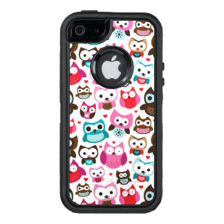 colorful owl pattern OtterBox defender iPhone case
