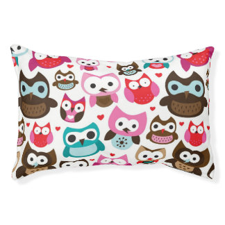 colorful owl pattern pet bed