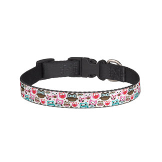 colorful owl pattern pet collar