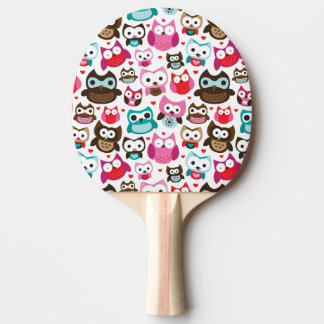 colorful owl pattern ping pong paddle