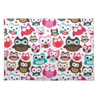 colorful owl pattern placemat