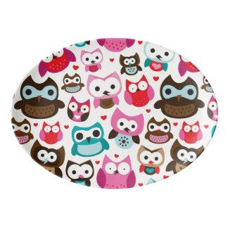 colorful owl pattern porcelain serving platter